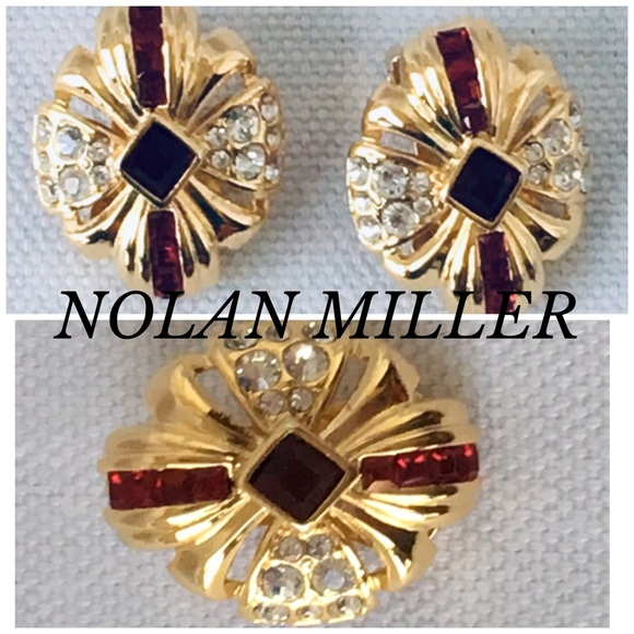 Nolan Miller Jewelry - GOLD TONE MAGENTA/CRYSTALS NOLAN MILLER EARRINGS